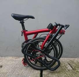 Sepeda lipat 3sixty majestic matte red upgrade litepro kojak srf3