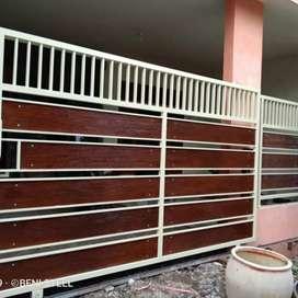 Pintu pagar dorong model grc lurus