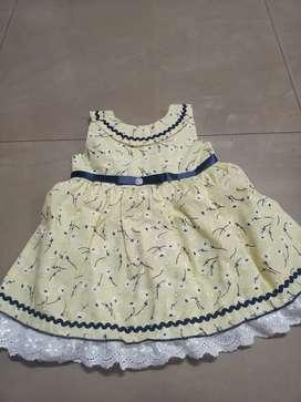 Cotton kadhi frock beautiful yellow colour