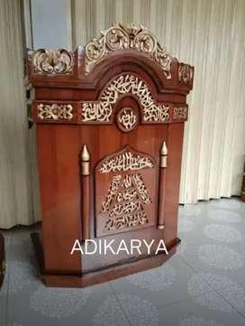 Podium mimbar ukir adikarya *ful kayu jati