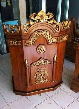 mimbar masjid mihrab kayu jati