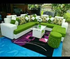 Erafurniture-sofa L new ARMANY hijau-putih+2puff +MEJA