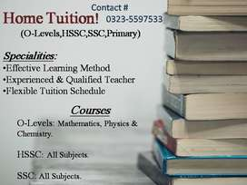 Home Tuitions for Maths, Physics and Chemistry(O-Levels, Matric, FSC)