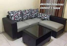 ANUGRAH-FURNITURE,Sofa L new hitam-abu minimalis kain baldu.