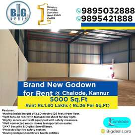 5000 Sq.ft Brand New Godown For Rent at Chalode, Kannur.