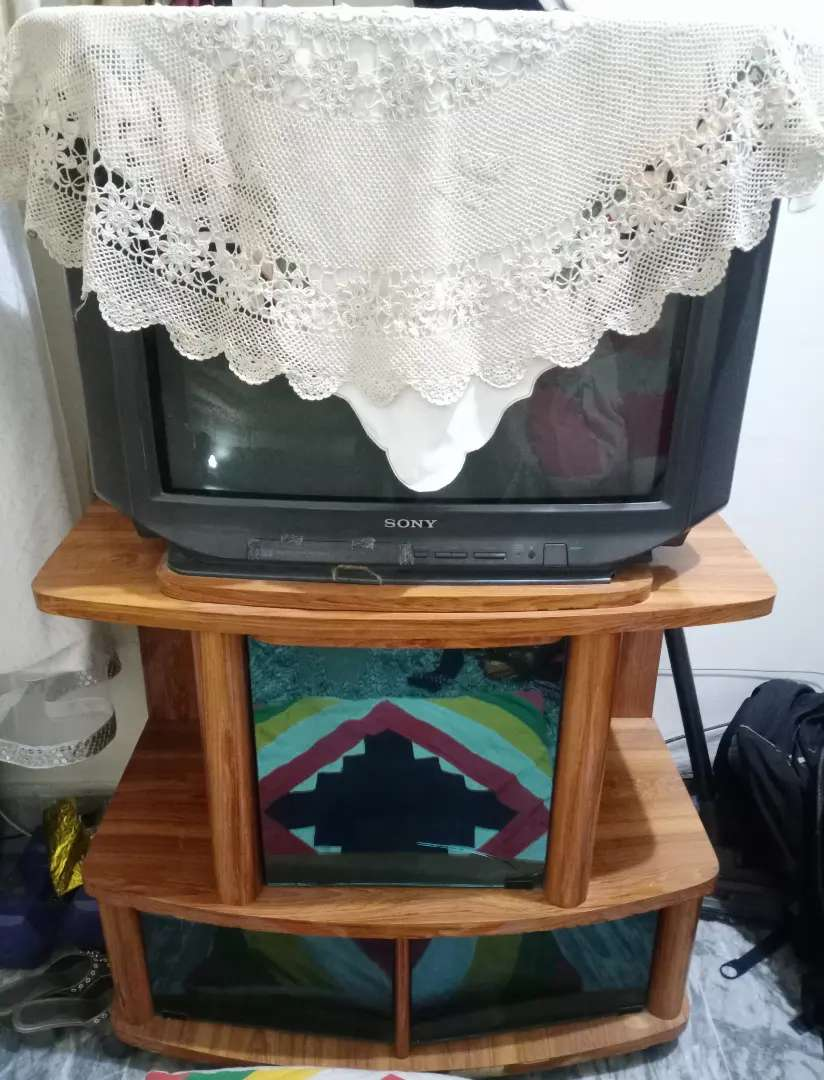 Sony Tv with Wooden Trolley.
