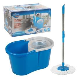 360 Rotating Spinning Magic Dry Mop Bucket 2 Heads and Easy Floor Mop