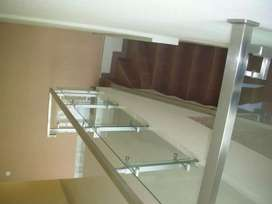 Railing tangga stainless + kaca #1619