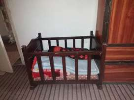 Kids carry cot wooden,  solid wood bed with mattress and swing