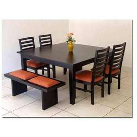 Saag Wood Dining Table 4 Seating Chair and Two Seating Bench WDC-1106