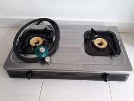 Kompor gas Rinnai 2 tungku + selang dan regulator