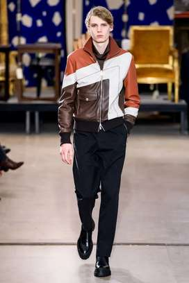 Jual hermes FW 2019 collection stripe leather jacket limited series