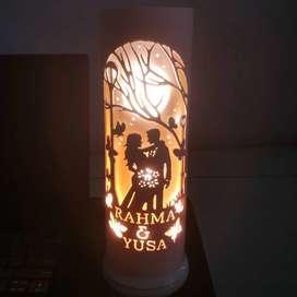 Lampu hias lampu tidur pvc paralon led ukir kado & koleksi