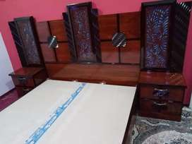 King size bed with 2 side tables, dressing table, cupboard n showcase