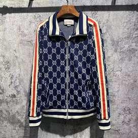 Jual promo gucci GG jacquard blue navy jacket wool jaket sport