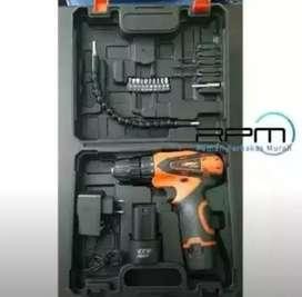 Mesin Bor Cordless 10mm Besi Kayu Drill Baterai Bs COD