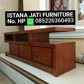 Bufet tv minimalis bahan kayu jati rak tv jati