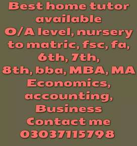 Best home tutor available in lahore. MBA, bba, metric, fsc 6th 7th 8th