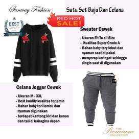 AM00630 Celana Setelan Satu set Sweater cewek dan celana joger