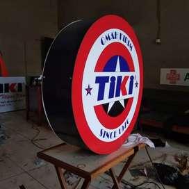 Neonbox signage TIKI bulat diameter 70cm