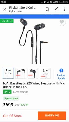 New sealed boat bassheads 225 earphone with mic