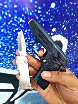 Korek api gas mini plus pisau bisa di lipat dan sarung