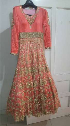 Salmon pink heavy gold bead embroidered walima bridal maxi dress