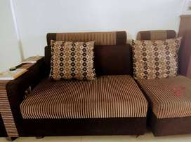 King size 6 seater sofa with cushions+ rotating chair