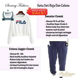 AM00454 Celana Setelan Satu set Sweater cewek dan celana joger