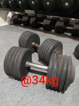 "Iron fixed dumbell, solid dumbell, Merk ""Delta Gym"""