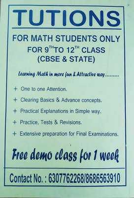 MATHEMATICS HOME TUTIONS FROM 9th to 12th (CBSE & STATE)