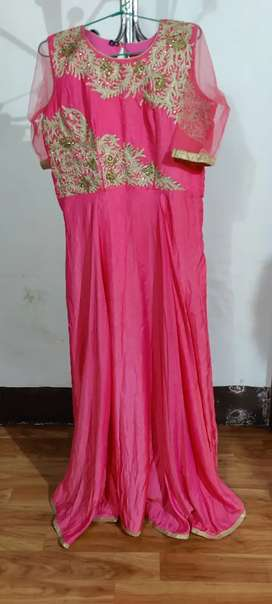 Pink long gown set