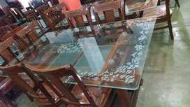 Top Glasses Shesham wood Dining table set(6 chairs)