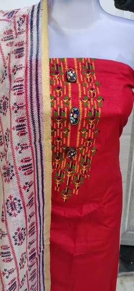 Cotton printed with chanderi silk supatta boutuqe style suit,
