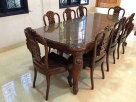 Custom made Indonesian rosewood 8 chair dining table