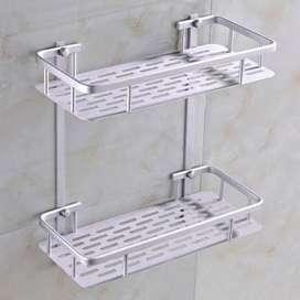 Rak Dinding Toilet Alumunium 2 Susun Rak Kamar Mandi Rak Sabun (COD)