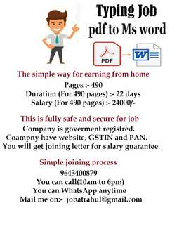 3rd week work plan available. Minimum 24000/- income. Part time work