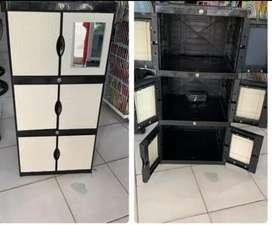 Gratis omgkir bjm - Lemari plastik 6 pintu / 3 rak dalam