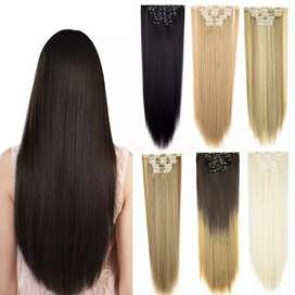 Long Straight 5 Clip in Hair Extensions Black Brown Heat Resistant