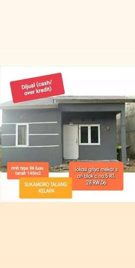Dijual cash/over kredit rumah type 36 luas tanah 145m2