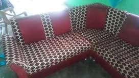 (2+2+1+1) Seater Sofas-Trendy 6 Seater Sofa in Aqua Red+Yellow Colour