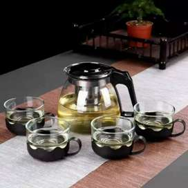 Tea pot set 5 in 1 / teko teh plus gelas 1 set / teko teh dan kopi set
