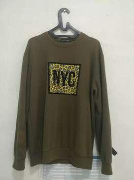 Sweater ijo lumut Crocozilla New York Kereeennn