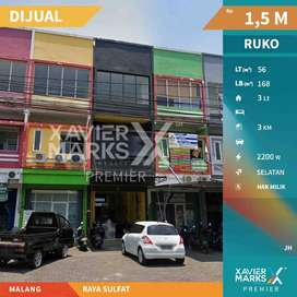 Di Jual Ruko 3 Lantai di Raya Sulfat Malang Lokasi Ramai