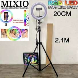 Mixio Ring Light RGB Rainbow 20CM Tripod 2.1M Lampu Make Up Cam TikTok