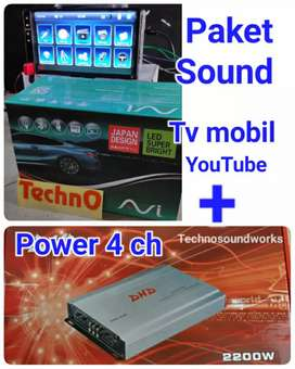 Paket sound power + tv 7 inch usb mp4 youtube double din 7in for arb