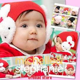 M&S ICTK38 - Topi Kupluk Rajut Motif Kartun Kelinci untuk Anak Laki