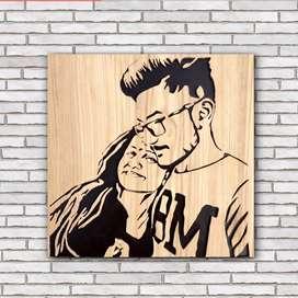 Wooden portrait