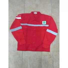 Baju seragam atasan safety lengan panjang lengkap logo