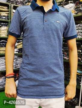 Modern Blue Cotton Striped Polo T-Shirt For Men